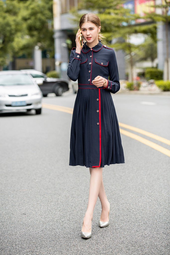 Navy & Red Office Dress