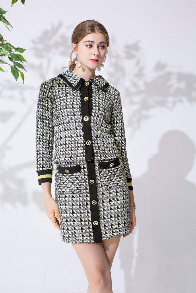 Black & White Grid Office Set (Jacket & Skirt)