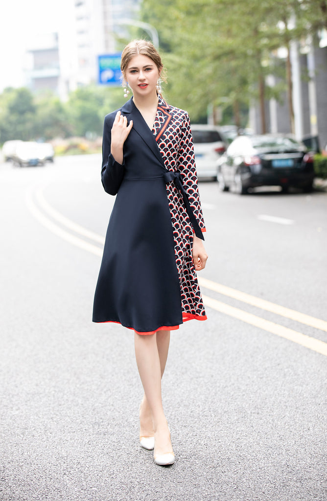 Navy & Red & White Day Dress - Dresses