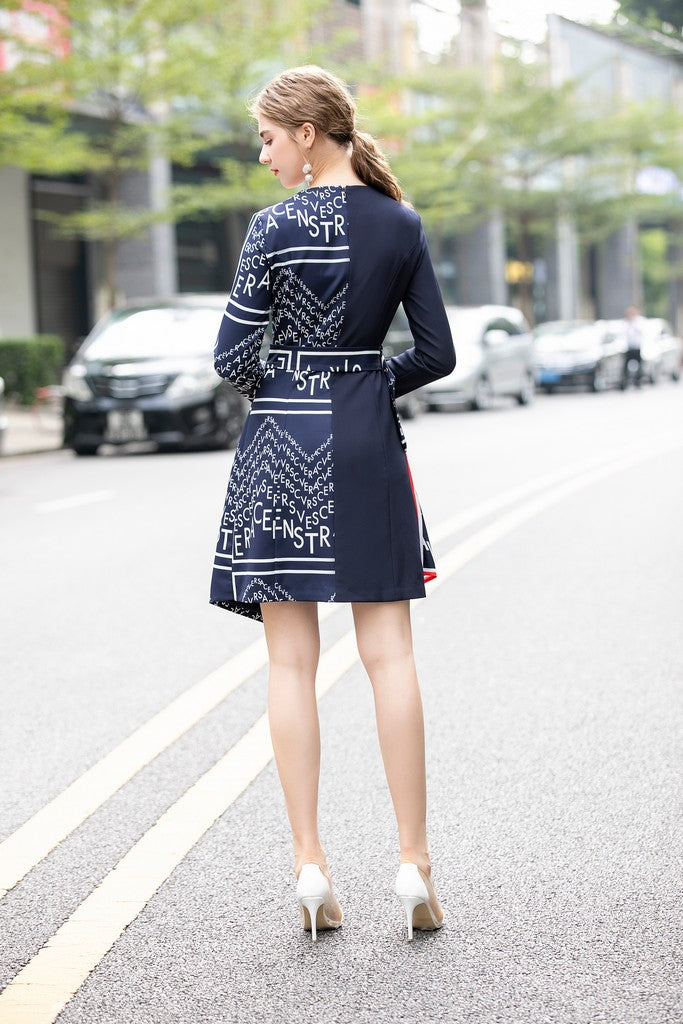 Navy & White Office Dress - Dresses