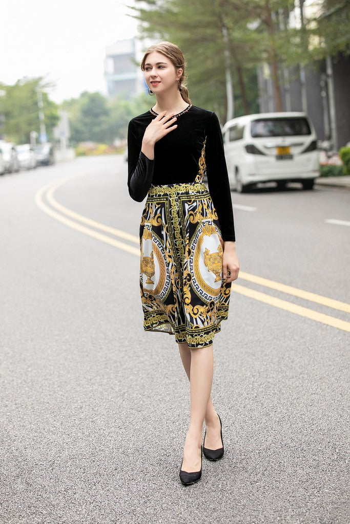 Black & White & Yellow Print Office Dress - Dresses