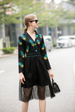 Black & Green & Yellow Print Office Dress
