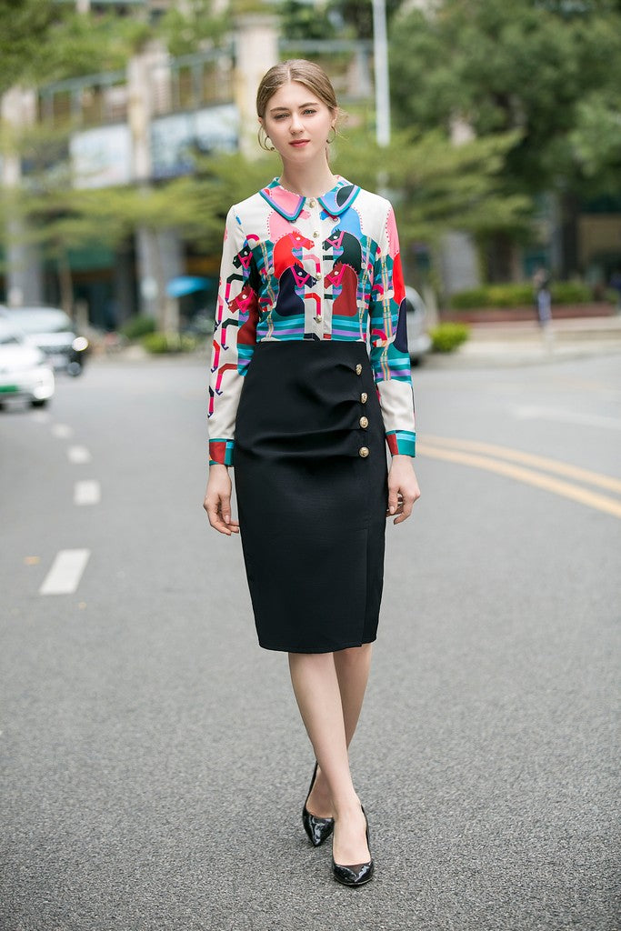 Black & Multicolor Print Office Dress - Dresses