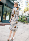 Light Beige & Multicolor Print Dress - Dresses