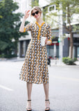 Multi White & Black & Yellow Dress - Dresses