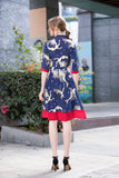 Navy & Red Day Dress - Dresses