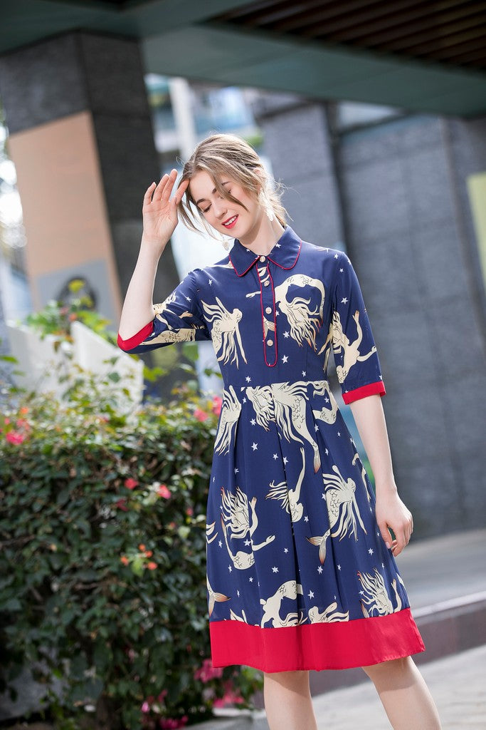 Navy & Red Day Dress