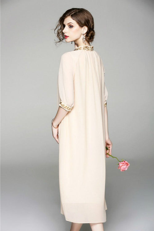 Evening A-line High Neck Elbow Sleeves Maxi Dress - ATLASDAY