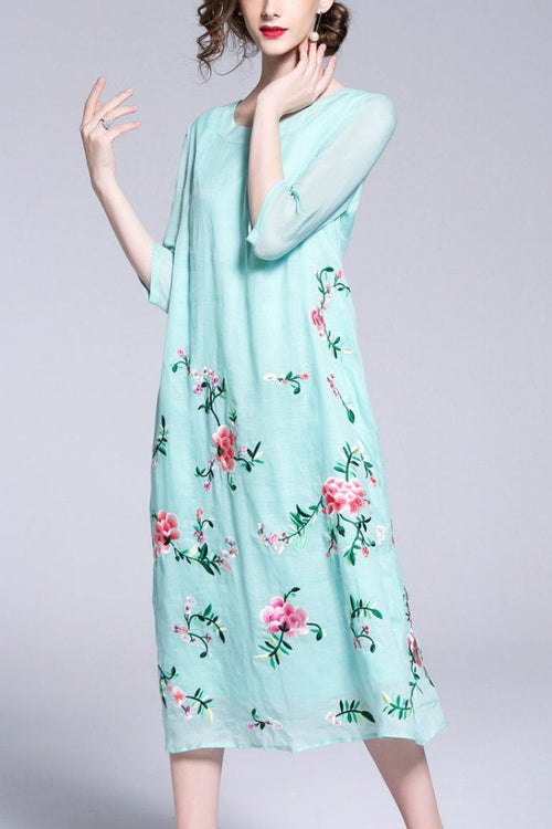Day Tent Crewneck Elbow Sleeves Maxi Floral Dress