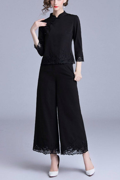 Evening Two Piece Suit (Qi Pao Blouse & Flare Pants) - ATLASDAY