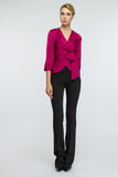 Fuchsia Office Elbow Sleeve Wrapped V-neck Blouse - Blouses