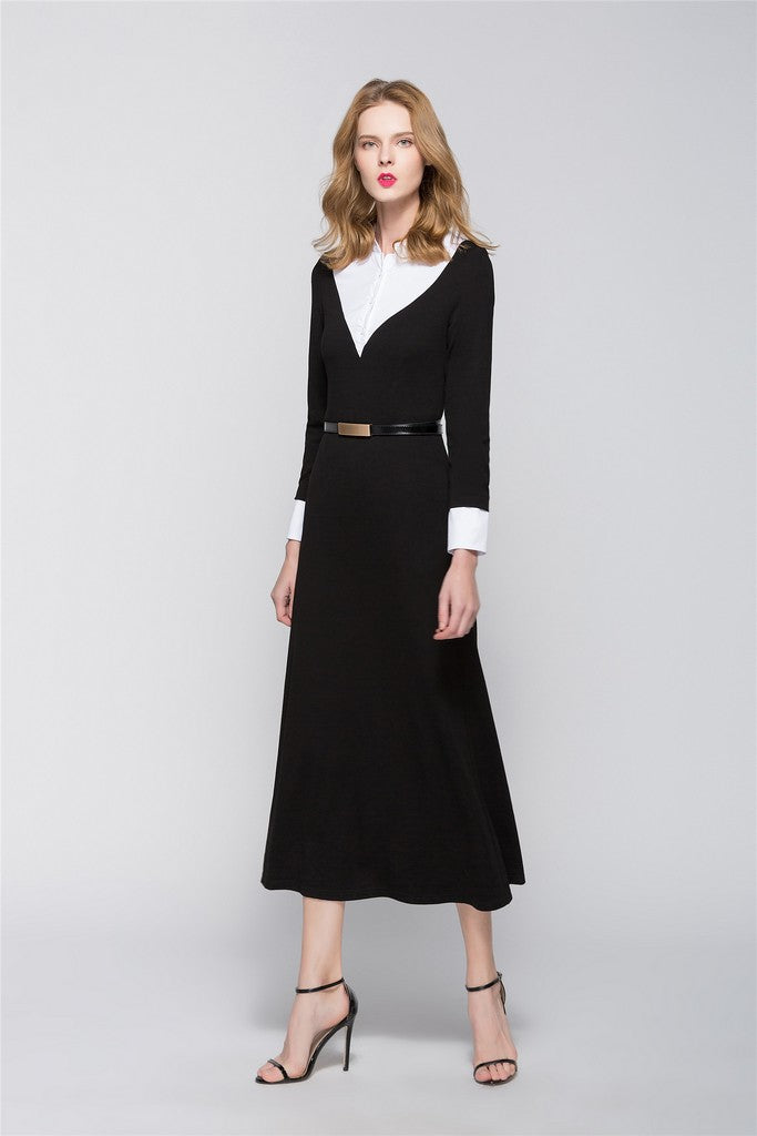 Black & White Office A-line Shirt Colar Long Sleeve Maxi Dress - Dresses