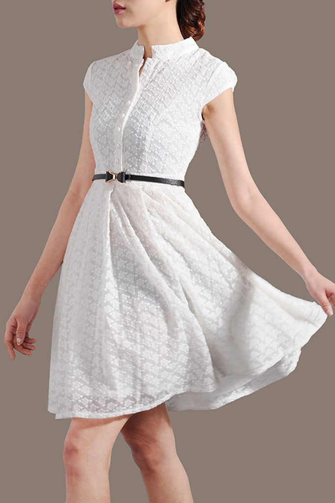 White Evening A-line High Neck Short Sleeve Above Knee Buttoned Dress - Dresses