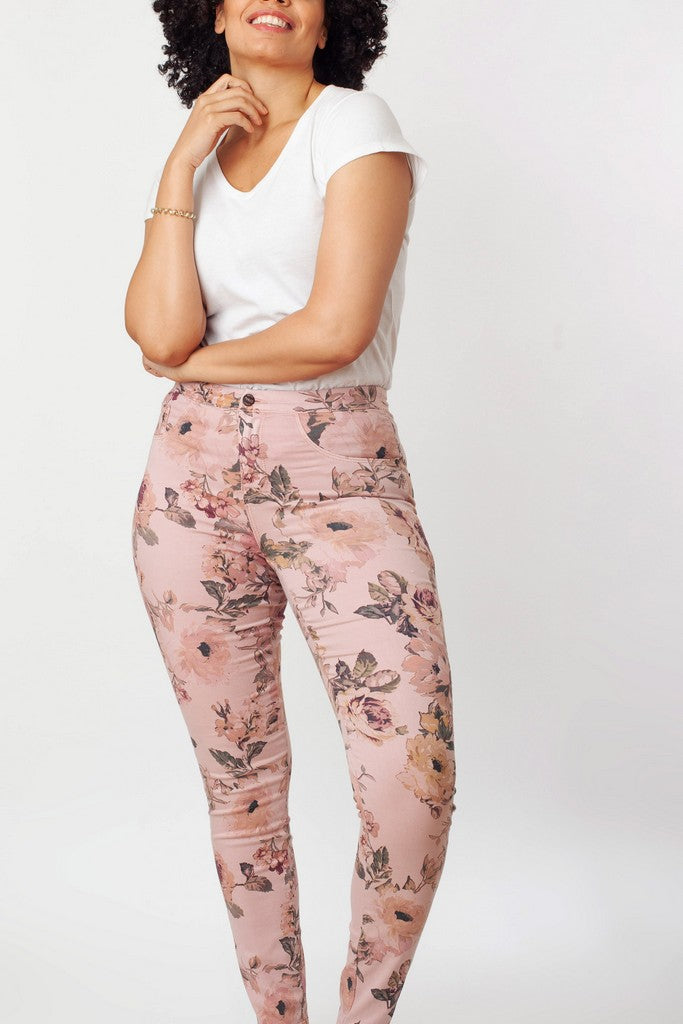 Pink Printed Jeans - Jeans