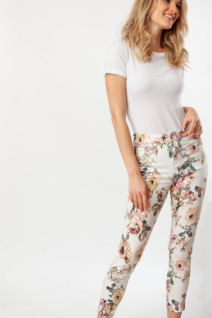 Floral Printed Jeans - Jeans