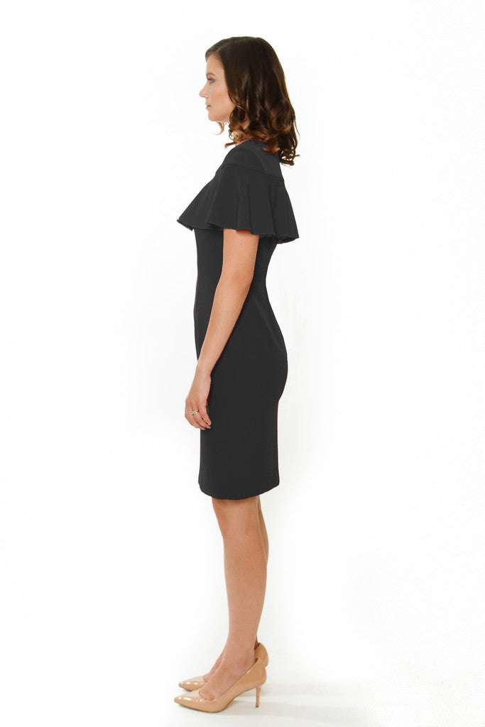 Flared Capelet Sheath Dress - Dresses