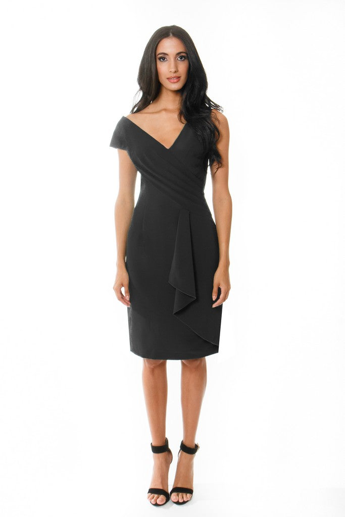 Assymetric Flounced Sheath Dress - Dresses