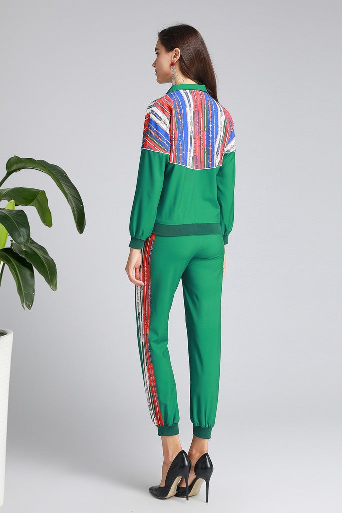 Green & Multicolor stripes Day Set (Blouse & Pants)