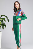 Green & Multicolor stripes Day Set (Blouse & Pants) - Suits