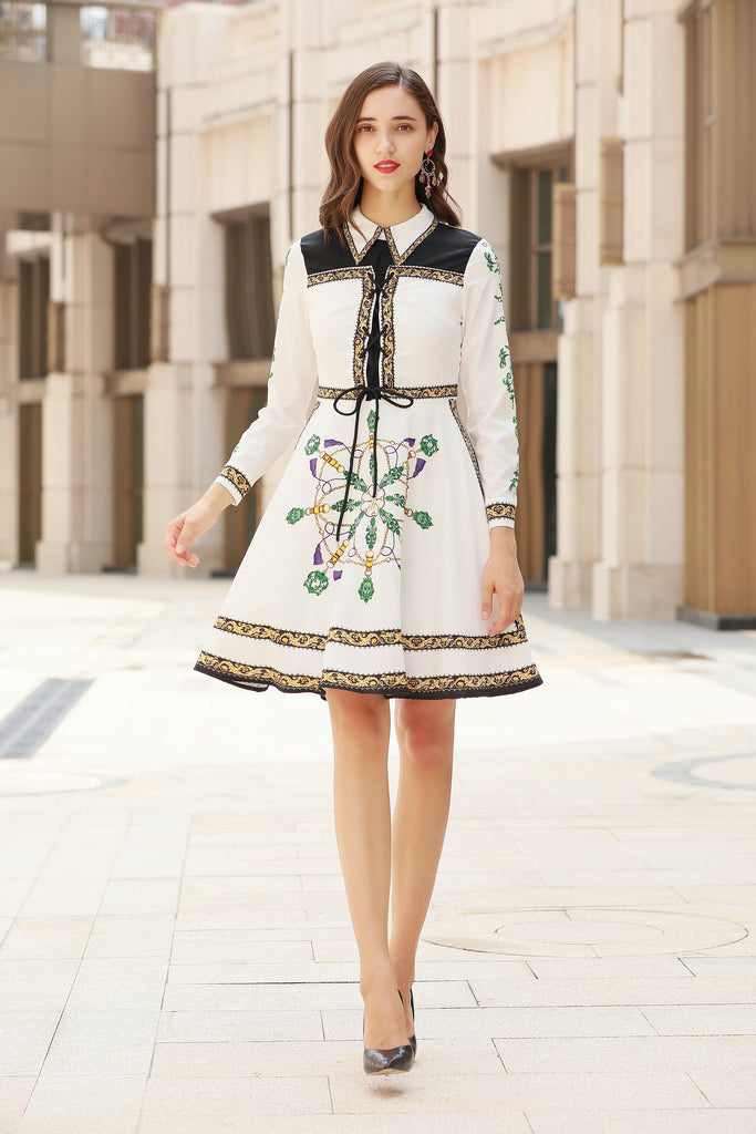 White & Black & Yellow Printed Day Dress