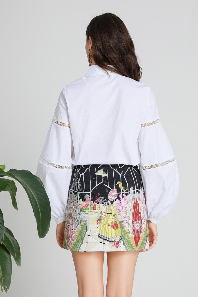 White & Multicolor Office Set (Shirt & Skirt)