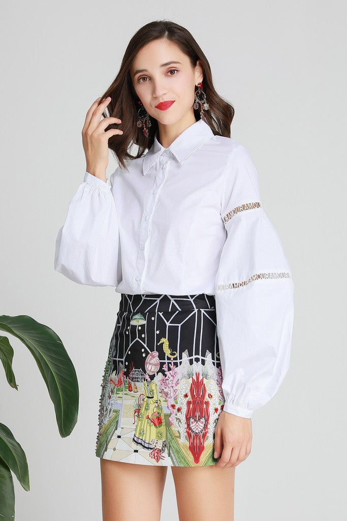White & Multicolor Office Set (Shirt & Skirt) - Suits