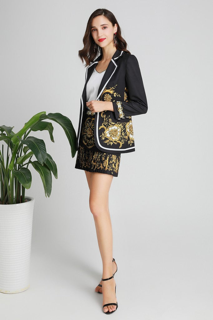 Black & Yellow Print Office Set (Jacket & Skirt) - Suits