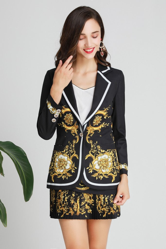 Black & Yellow Print Office Set (Jacket & Skirt)