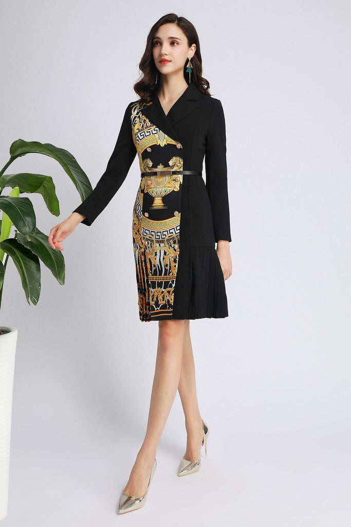 Black & Yellow Print Office Dress