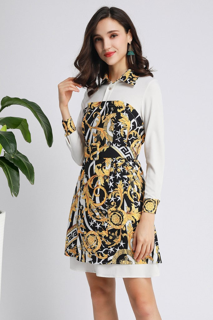 White & Black & Yellow Print Office Dress - Dresses