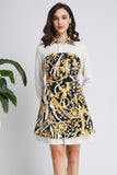 White & Black & Yellow Print Office Dress