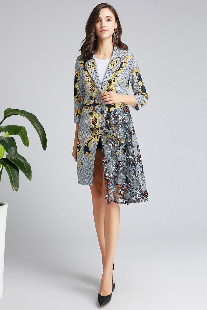 Light gray & Black & Yellow Print Office Dress