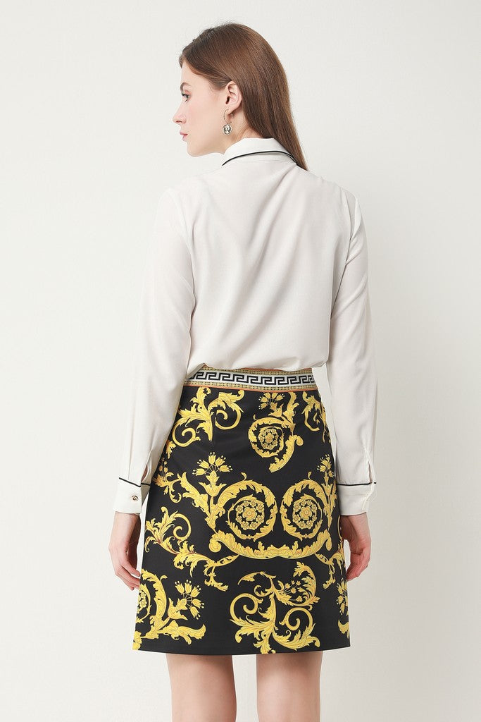 White & Black & Yellow Print Office Set (Shirt & Skirt) - Suits