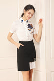 White & Black Office Set (Shirt & Skirt) - Suits