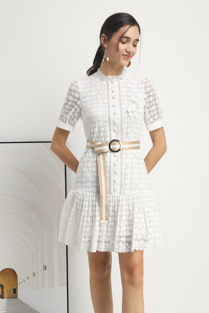 White Dress with Belt - Dresses