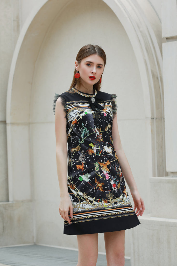 Black & Multicolor print Dress