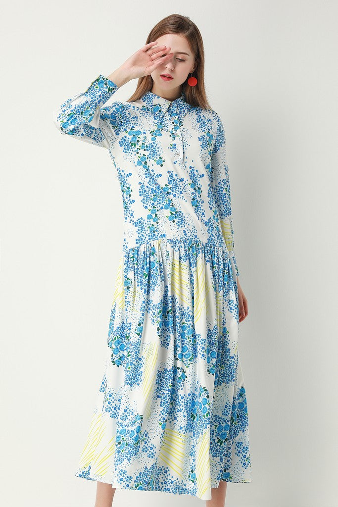 White & Multicolor Floral Print Day Dress - Dresses