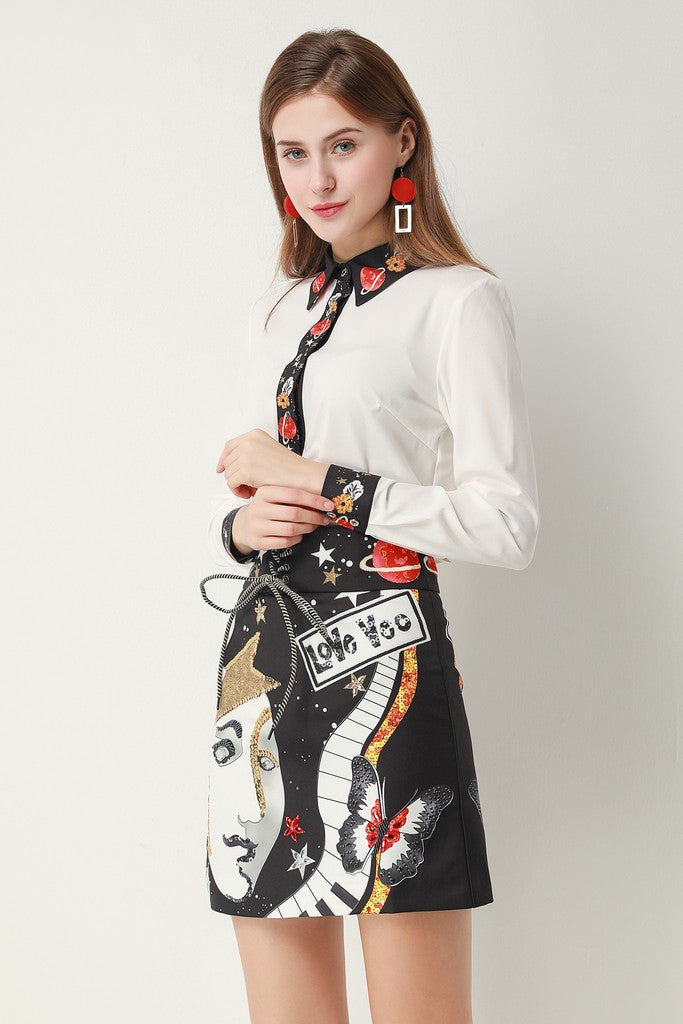 White & Black & Multicolor Print Сocktail Set (Shirt & Skirt) - Suits