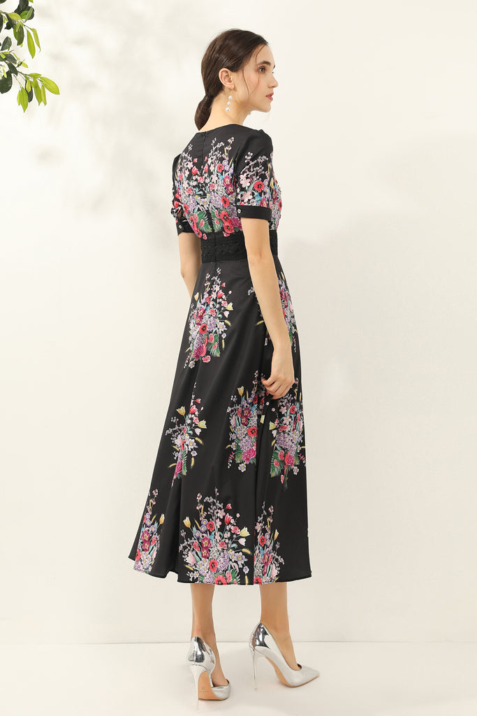 Black & Multicolor floral print Dress - Dresses
