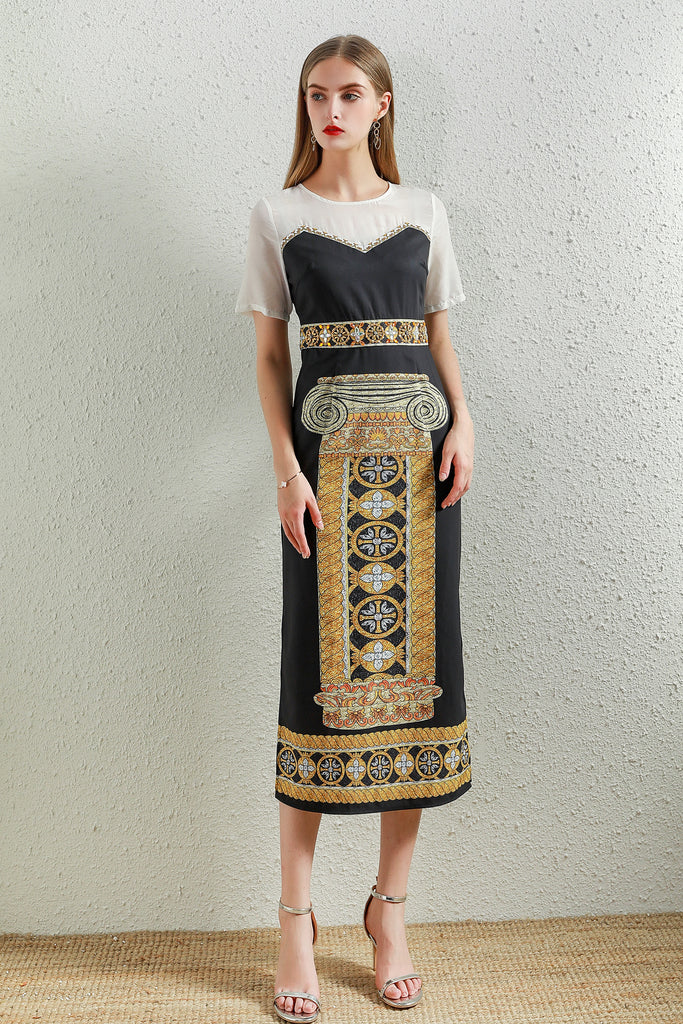 White & Black & Multicolor print Dress - Dresses
