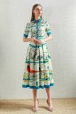 Shortsleeved Multicolor Dress - Dresses