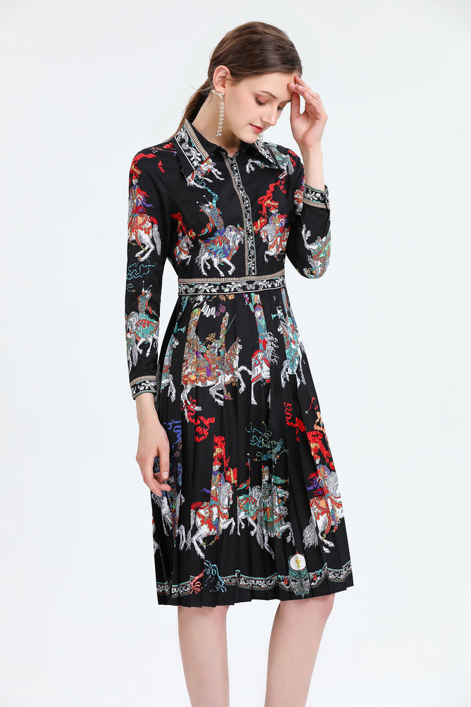 Black & Multicolor Printed Day Dress - Dresses