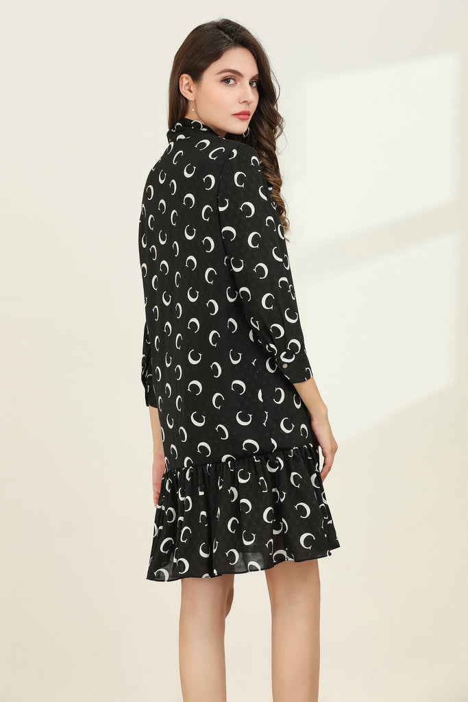 Black & White Above Knee Day Dress