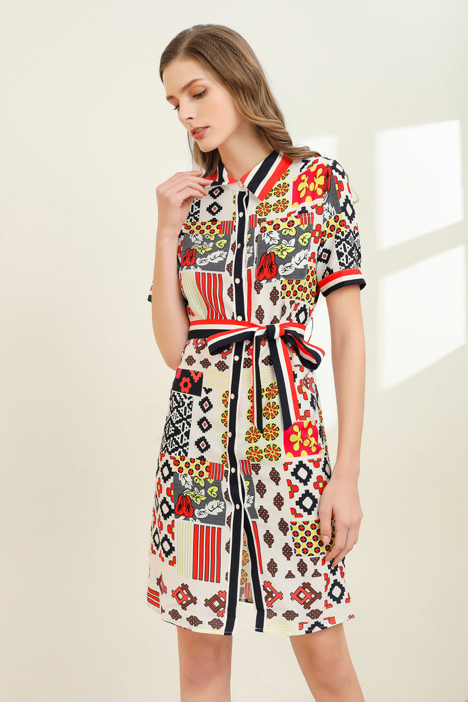 White & Multicolor print Dress - Dresses