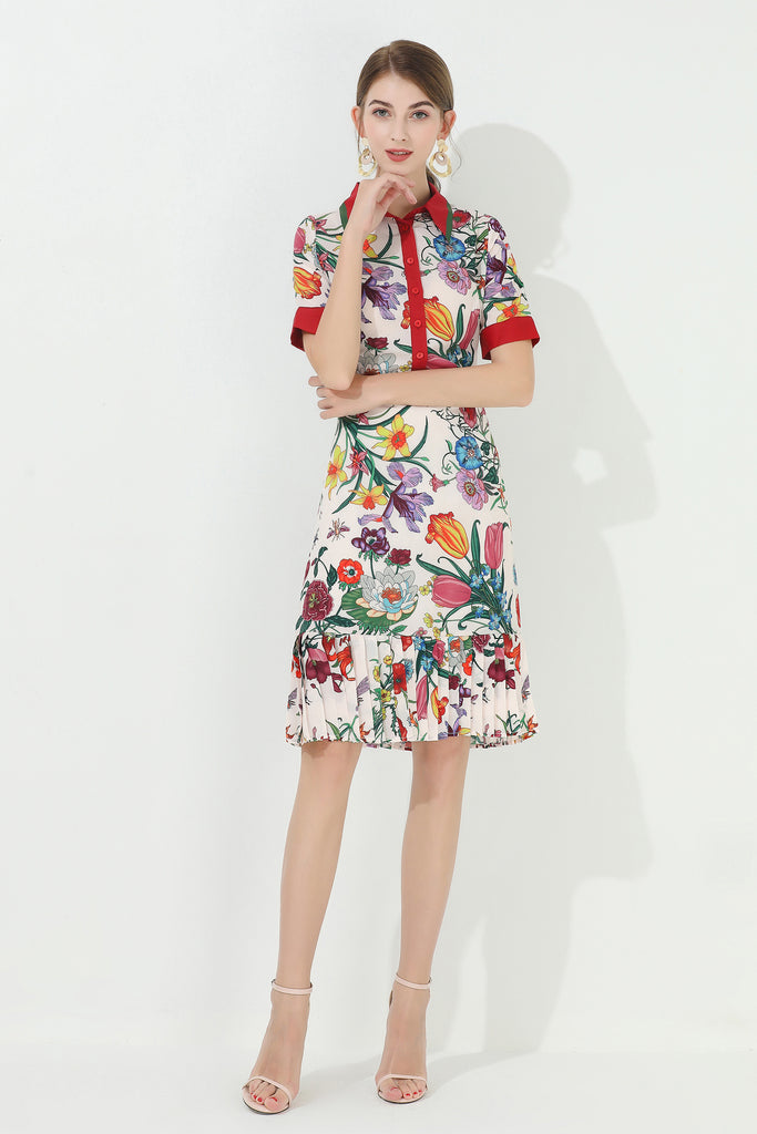 Multicolor Shortsleeved Dress with Floral Print - Dresses