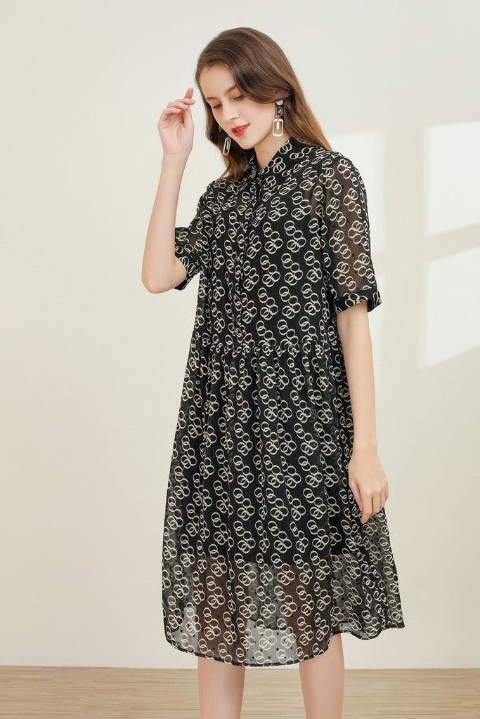 Black & Beige Print Day Dress