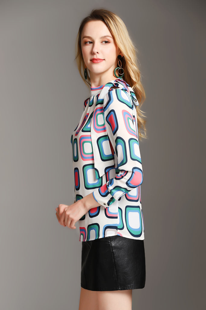White & Multicolor Printed Day Shirt