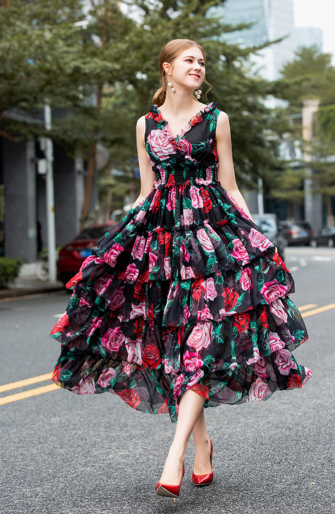 Black Floral Day Dress