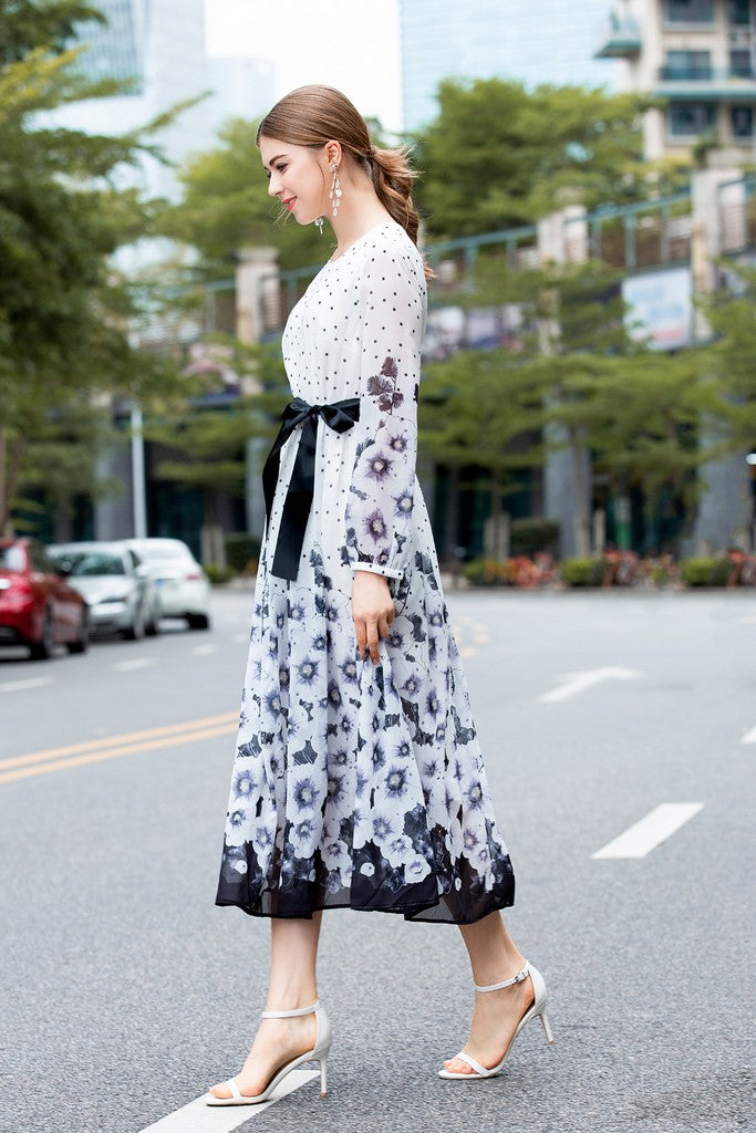 White & Black & Blue Print Evening Dress