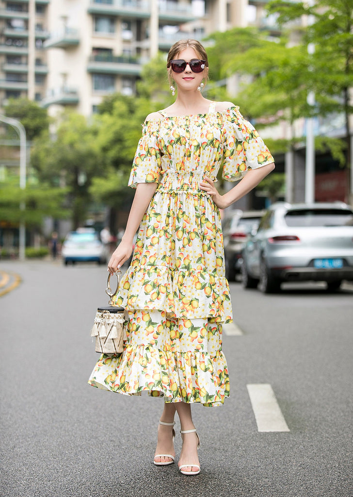 Yellow White & Multicolor Print Dress - Dresses